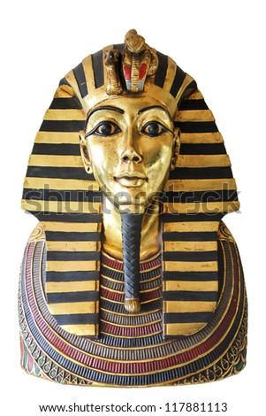 Modern copy of ancient egyptian Tutankhamen's mask isolated with clipping path - stock photo