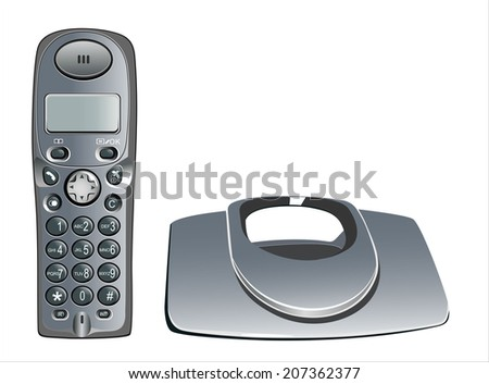 modern, cordless home phone, isolated on a white background. - stock photo