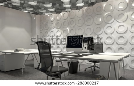 Modern corporate management office interior with a geometric patterned feature wall and desk and worktable lit by hexagonal down lights. 3d Rendering - stock photo