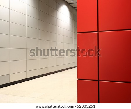modern corridor and red metal wall - stock photo