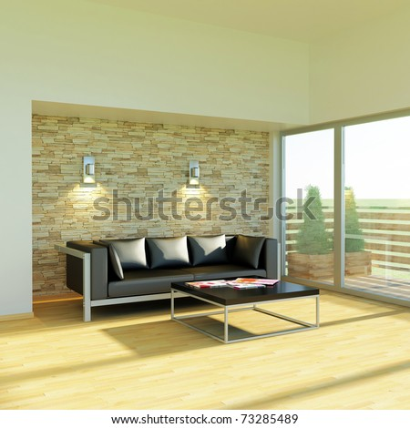modern couch in a living room - rendering - stock photo