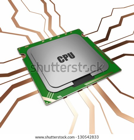 Modern CPU - Central Processing Unit - stock photo