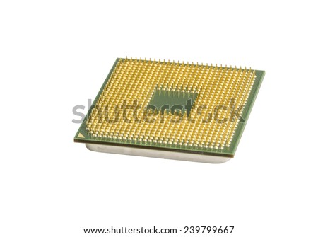 Modern CPU isolated on white - stock photo