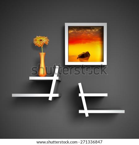 modern creative shelves template for your design - stock photo