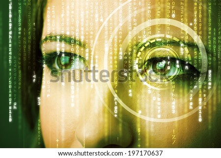 Modern cyber woman with eye concept - stock photo