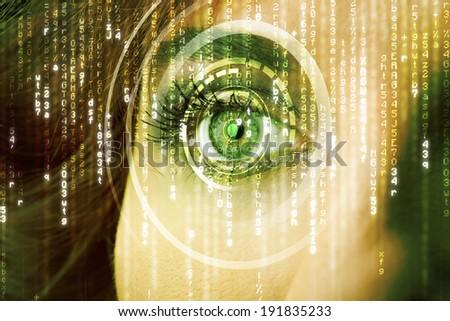 Modern cyber woman with matrix eye concept - stock photo