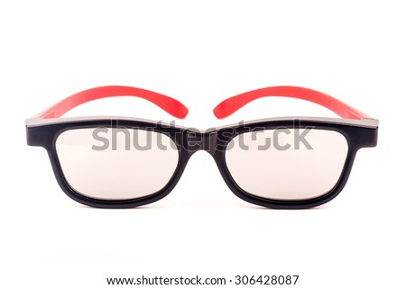 modern 3D cinema glasses isolated over white background - stock photo