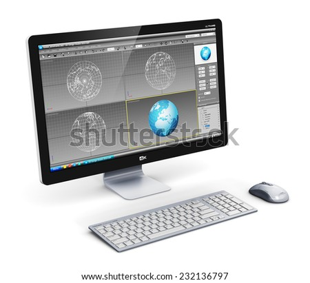 Modern 3D design technology business concept: professional desktop workstation computer PC with 3D development software interface on monitor screen, keyboard and mouse isolated on white background - stock photo