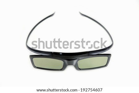Modern 3D glasses isolated on white - stock photo