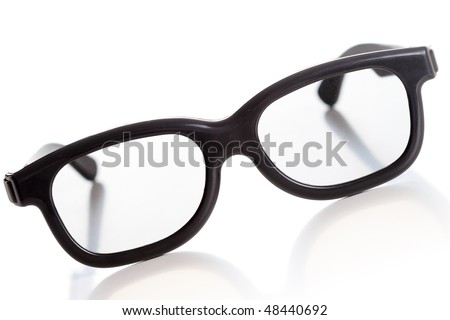 modern 3D glasses, old fashioned look, isolated - stock photo