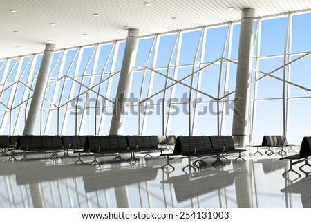 Modern 3D Interior of an Airport Terminal Waiting Area. Empty Hall Interior with Seats and Large Windows. 3D Rendering - stock photo