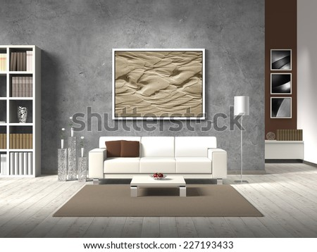 modern 3D living room rendering with white sofa and copy space for your own image/photos on the concrete wall behind the sofa - stock photo