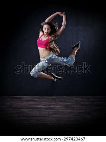 Modern dancer girl (dark version) - stock photo