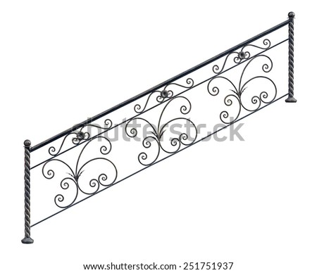 Modern decorative  railing staircase steps. Isolated over white background. - stock photo