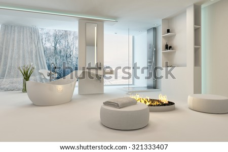 Modern Design Bathroom interior with unusual shaped bathtub, shower, a cozy warm fireplace with stools placed around and floor-to-ceiling window with a winter landscape view. 3d Rendering. - stock photo