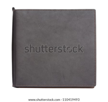 Modern design black note book leather with price tag note book cover isolated on white background with clipping path - stock photo