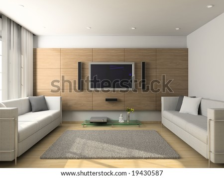 Modern design interior of living-room. 3D render - stock photo