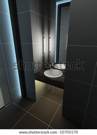 Modern design interior of toilet. 3D render - stock photo
