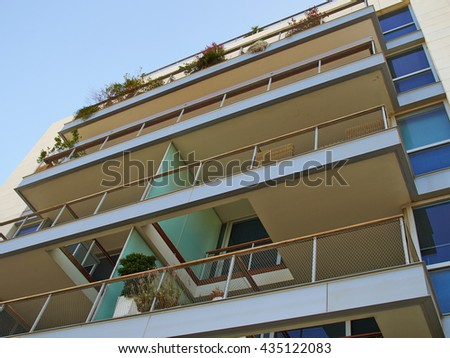 Modern design luxurious executive apartments city condominium building                                - stock photo