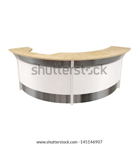 modern design office reception counter isolated on white - stock photo