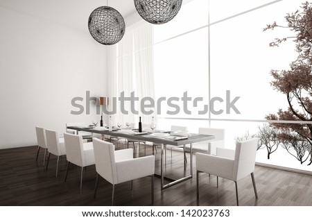 Modern Design White Dining Room | Interior Architecture - stock photo