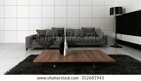 Modern design white living room interior with grey couch against white wall. 3d Rendering. - stock photo