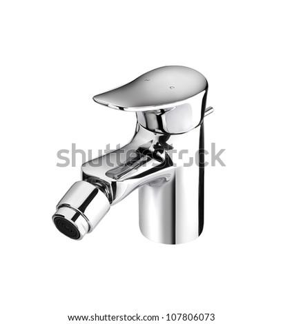 Modern designed of chrome faucet - stock photo