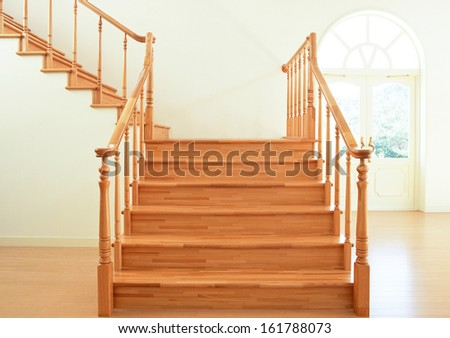 Modern designed stairs made with wood - stock photo
