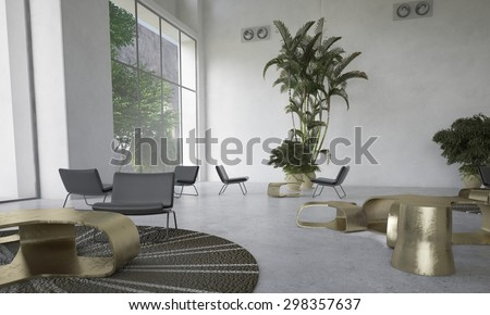 Modern designer living room with houseplants with scattered individual seating areas and a dining table lit by large view windows in a double volume space. 3d Rendering. - stock photo