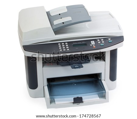 Modern digital printer isolated on white background - stock photo