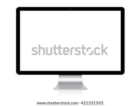 Modern digital silver and black computer on white background '3D rendering' - stock photo