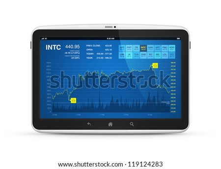 Modern digital tablet computer with stock market application on a screen. Isolated on white. - stock photo