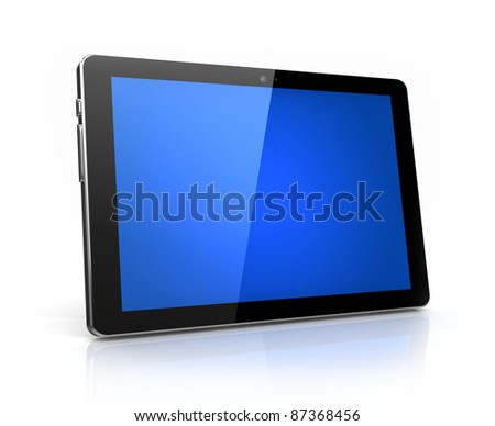 Modern digital tablet with blue screen isolated  - stock photo