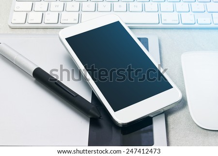Modern digital tech device mock up - stock photo