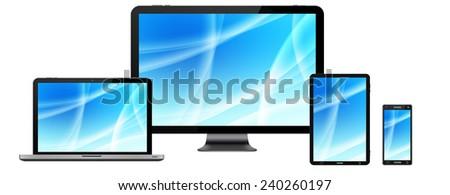 Modern digital tech device on white background - stock photo