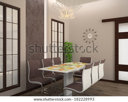 Modern dining room interior 3D - stock photo