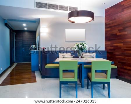 Modern dining room  interior design - stock photo