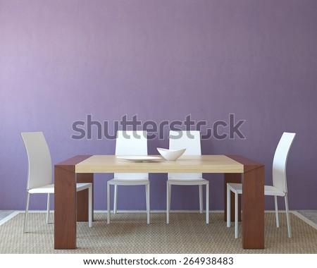Modern dining-room interior. Minimalism. 3d render. - stock photo