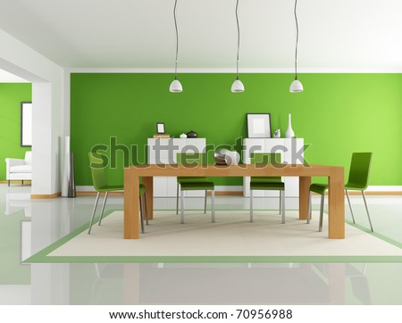 modern dining room with wooden table and green chair - rendering - stock photo