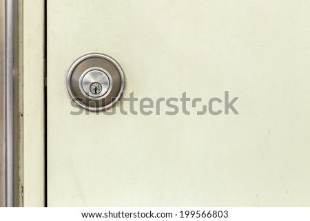 modern door locked cream white door background ,texture ,passage - stock photo