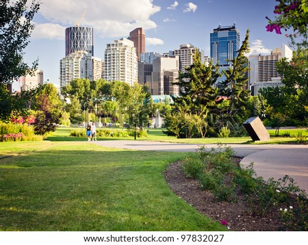 Modern Downtown view taken from near by park. - stock photo