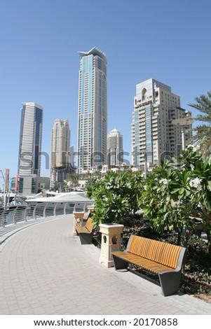 Modern Dubai Waterfront Skyline - stock photo