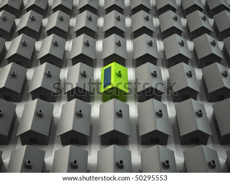 Modern eco house standing out - stock photo
