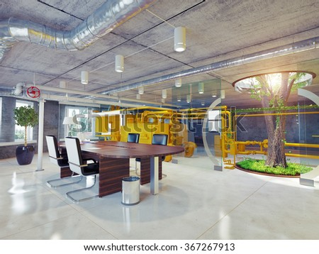 modern eco office interior. 3d architectural concept - stock photo