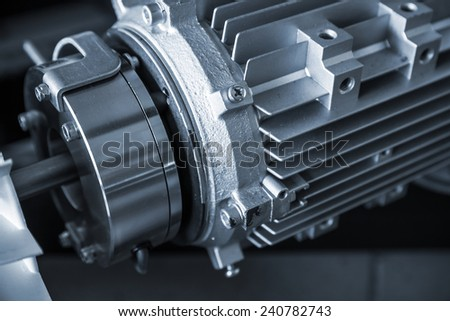 Modern electric engine fragment, blue toned photo - stock photo