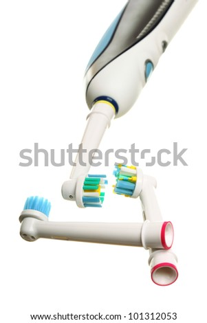 modern electrical toothbrush isolated on white background - stock photo