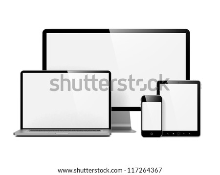 Modern Electronic Devices with Blank Screens. Isolated on White. - stock photo