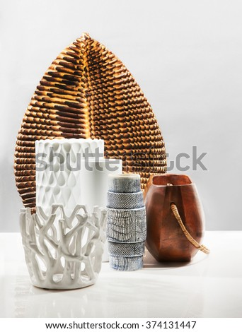 modern elegant and very stylish vases with reflection - stock photo