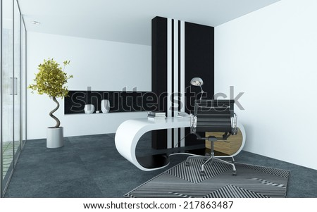 Modern elegant office interior with clean grey and white decor and a curved modular desk, metal swivel chair and black striped cabinet with a glass wall of window down one side - stock photo