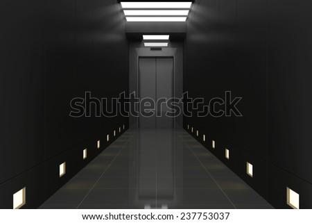 Modern Elevator with Closed Doors in Black Corridor Interior. 3D Rendering - stock photo